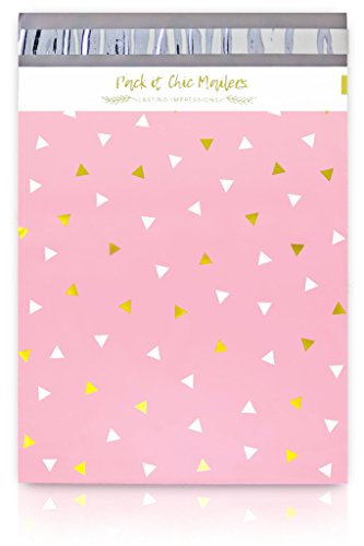 "Pack It Chic - 12"" X 15.5"" (100 Pack) Pink Gold Triangle Confetti Poly Mailer Envelope Plastic Custom Mailing & Shipping Bags - Self Seal (More Designs Available) by Pack It Chic"