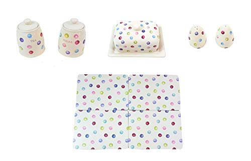 (9 PIECE PRINTED SPOTS DOTS TEA SUGAR CANISTERS BUTTER DISH SALT PEPPER SHAKERS PLACEMATS)