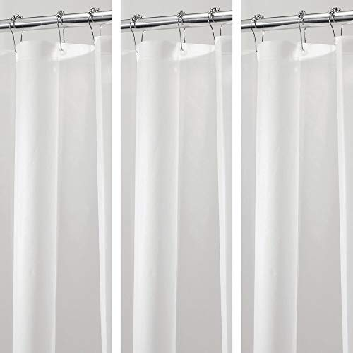 mDesign Plastic, Waterproof, Mold/Mildew Resistant, Heavy Duty PEVA Shower Curtain Liner for Bathroom Showers and Bathtubs - No Odor - 3 Gauge, 72 inches x 72 inches - 3 Pack -