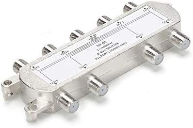 TLS.eagle 8 Way 5-2400 MHz Coaxial Antenna Splitter for RG6 RG59 Coax Cable Satellite HDTV (8 Ports)