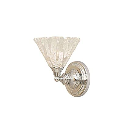 "Toltec Lighting 40-CH-7195 Wall Sconce with 7"" Italian Ice Glass, Chrome Finish"