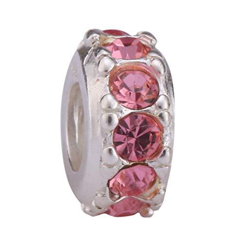 Sterling Silver Charm October Birthstone Bead Pink Swarovski Crystal fits All Charm Bracelet Women Girls Mother's Gifts EC291