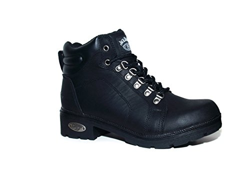 Jack Daniel's Ladies Motorcycle Lace-Up Lug Bottom Leather Boot (9) Black ()