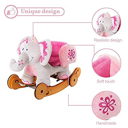 labebe Wooden Riding Toy for Kid//Toddler Baby Rocking Horse Pink Plush Ride on Toys for 1-3 Year Infant Outdoor Animal Rocking Chair Stuffed Ride Along Toy Child Elephant Rocker with Wheels