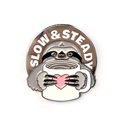 - Slow and Steady Sloth and Coffee - Collectable Enamel Lapel Pin