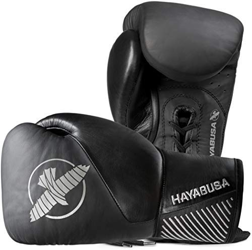 Hayabusa Classic Black Lace up Leather Boxing Gloves 12oz ()
