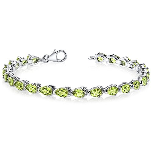 Pear Peridot Bracelet - Magnificent Desire: 9.50 carats total weight Pear Shape Peridot Gemstone Bracelet in Sterling Silver Rhodium Nickel Finish