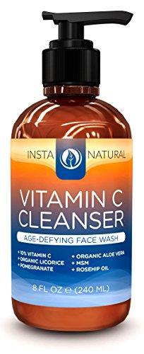 Limpiador Facial de vitamina C - revitalizante anti-edad lavado de cara con el 10% de vitamina C, Aloe Vera orgánico y aceite de rosa mosqueta - crema hidratante de la piel en profundidad y rejuvenecedor - destapar y minimizar los poros - InstaNatural - 8