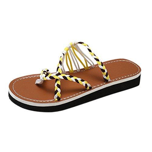 Femme Été Chaussures Flip Plates Compensées Paillettes Sandales Flops Tongs Frestepvie Jaune Plateforme O5UFxWwStq