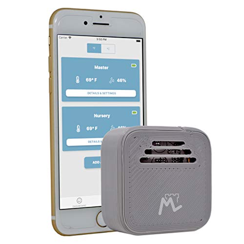 Moat Temperature & Humidity Wireless Smart Sensor for iPhone - iOS Thermometer/Hygrometer with alerts to Monitor The Ambient Climate in Your Nursery, Incubator, Fridge, and Any Other Room (1 ()