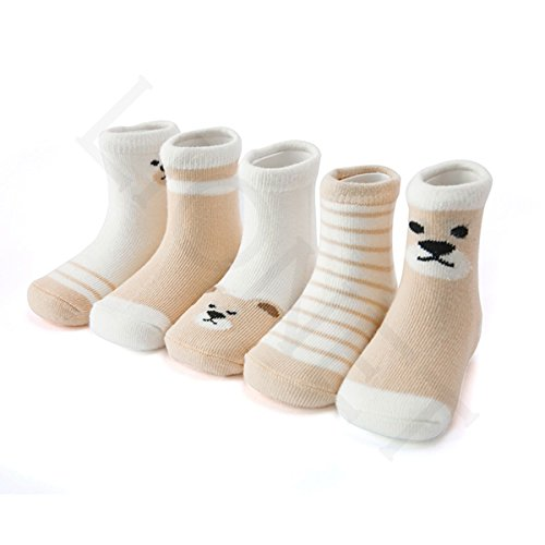 PinkBTFY 5Pair/Lot Cartoon Animal Stripe Soft Cotton Socks For Baby Boys Girls Gifts 1-12Y 4 6 to 8 year L by PinkBTFY