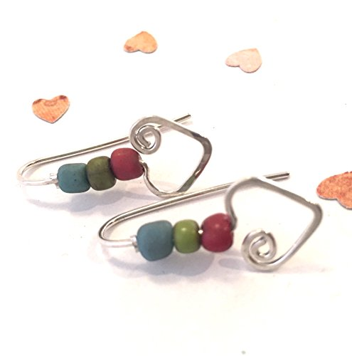 - Minimalist Hammered Heart Beaded Silver Earring Threaders in Sterling Silver by BANDANA GIRL