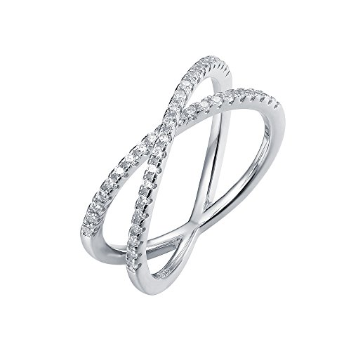 PAVOI 14K Gold Plated X Ring CZ Simulated Diamond Criss Cross Ring (9, ()