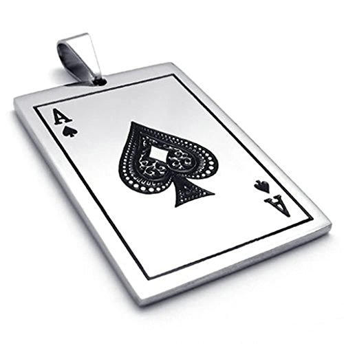 [Bishilin Stainless Steel Spades Card Poker Unisex's Pendant Necklaces with Chain 24 Inch for Women Men with Free Engraved Service] (White Swan Costume Australia)