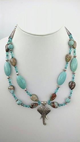 Paisley Jasper, elephant pendant necklace and earring set