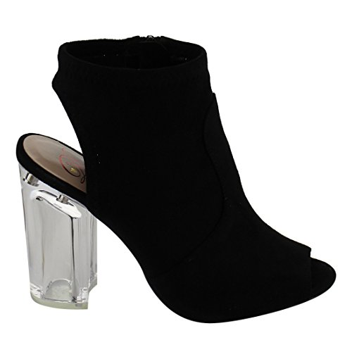 Red Delicious ID52 Women's Side Zipper Backless Lucite Chunk Heel Ankle Bootie, Color:BLACK, Size:9