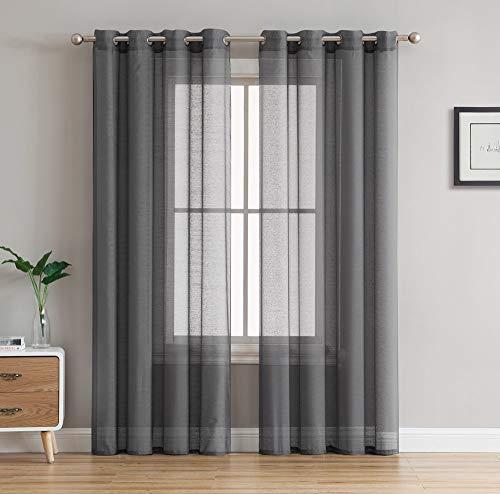 HLC.ME 2 Piece Semi Sheer Voile Window Curtain Grommet Panels for Bedroom & Living Room (54
