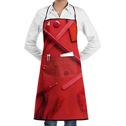 (ADSEZ Red Ballpoint Pen Apron with Pocket,Convenient and Adjustable, Design for Garden Craft)