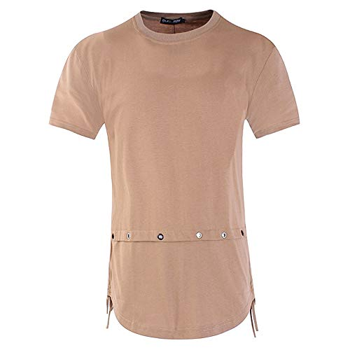 - Sunhusing Men's Street Hip Hop Loose Half Sleeve Back Ribbon Stitching Short Sleeve Slim T-Shirt
