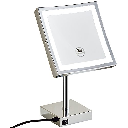 GURUN 8.5 inch Square Makeup Mirror with Lights Led 3x Magnification,Chrome Finish -