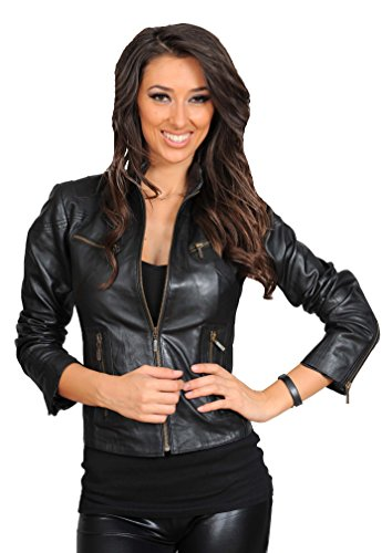 Motorcycle Jacket For Women Real Leather Ladies Biker Zip...