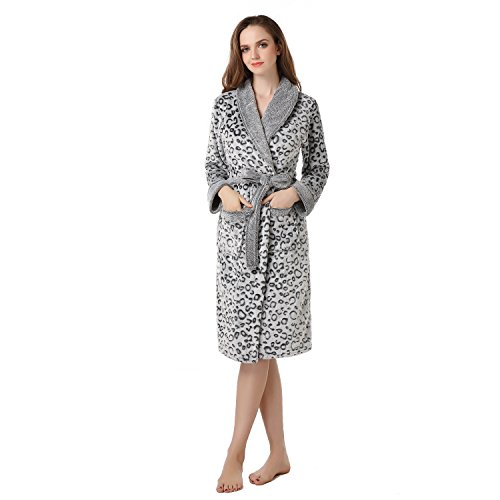 Richie House Women's Warm Fleece Bathrobe Robe ()