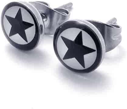 dfa88ff12 TEMEGO Jewelry Mens Stainless Steel Classic Round Vintage Lucky Star Huggie Stud  Earrings Set, Black