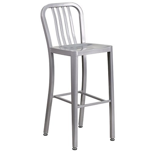 Flash Furniture 30'' High Silver Metal Indoor-Outdoor Barstool with Vertical Slat - Slat Chair Back Upholstered