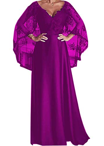 Ci-ONE Women's Satin Long Formal Evening Dress Lace Mother of The Bride Dress with Batwing Sleeve Fuchsia, 8 (Qf3 Sp18 Sn Satin)