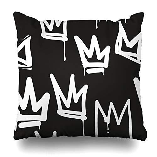 DIYCow Throw Pillows Covers Abstract Tags Black White Graffiti Hip Hop Street Style Skateboard Artistic Home Decor Pillowcase Square Size 18 x 18 Inches Cushion Case ()