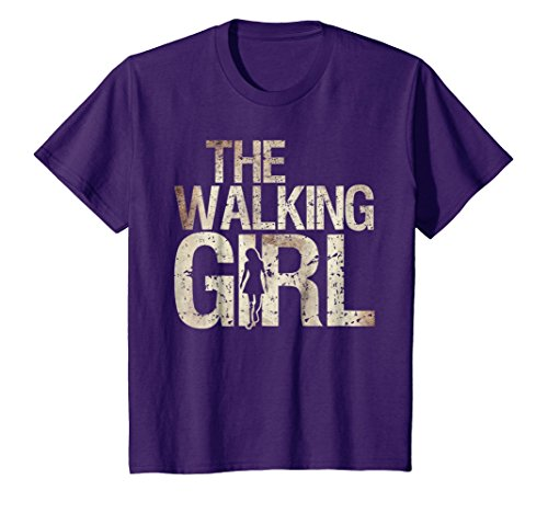 Kids Walking Girl Shirt Zombie Woman Teen Kid Mother's Day Tee 10 Purple