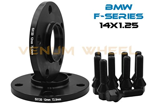 2 Pc 12 MM BMW F-Series 5x120 MM Black Hub Centric Wheel Spacers 72.56 Hub Bore W/ 14x1.25 Black Lug Bolts Fits: 2013-2017 228 320 328 GT X Drive 335 GT 428 435 528 550 640 740 750 760 M3 M4 M5 M6