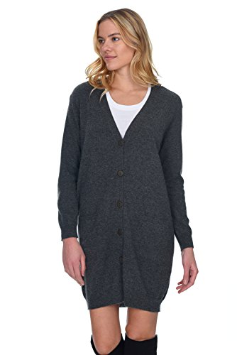 's 100% Pure Cashmere V Neck Fashion Long Cardigan ()