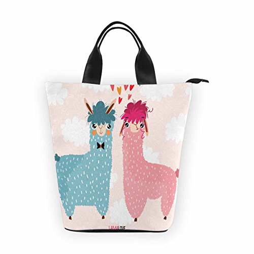 InterestPrint Lamas Love-Lovely With Cute Llamas Nylon Cylinder Lunch Bag Tote Shopping Handbag,Reusable Large Lunchbox Grocery Bag for Men Women Adult Kids Boys Girls - Cylinder Tote Purse