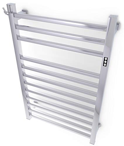 Brandon Basics Wall Mounted Electric Towel Warmer with Built-in Timer and Hardwired and Plug in Options, Stainless Steel - Polished (Renewed)