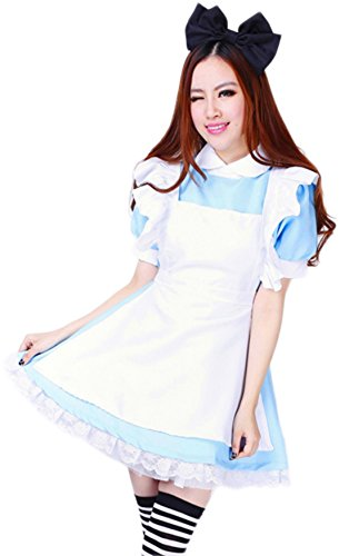 [VSVO Women's Blue Anime Cosplay French Maid Costume Dress (Large, Light Blue)] (After Party Alice Costume)
