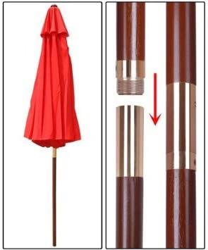 Elegant Design 9 Wooden Exclusive Red Outdoor Pulley Umbrella Patio Shade Market Garden Yard Beach