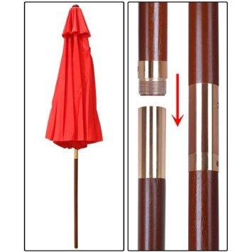 Elegant Design 9 Wooden Exclusive Red Outdoor Pulley Umbrella Patio Shade Market Garden Yard Beach