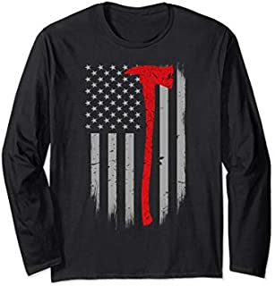 [Featured] Firefighter Flag - Thin Red Line Firefighter Axe Long Sleeve in ALL styles | Size S - 5XL