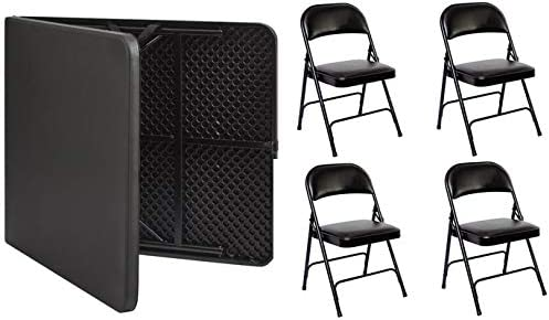 6 Foot fold in Half Table with 4 Padded Chairs