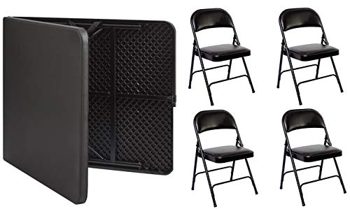 - 6 Foot fold in Half Table with 4 Padded Chairs