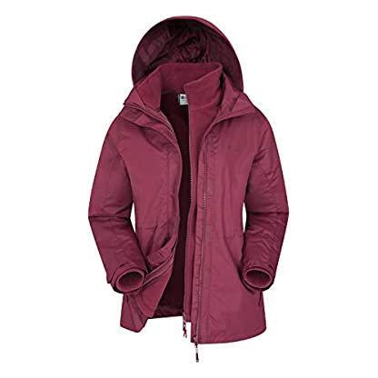 Mountain Warehouse Fell Womens 3 in 1 Jacket -Water Resistant Rain Jacket, Adjustable Hood Ladies Winter Triclimate… 1