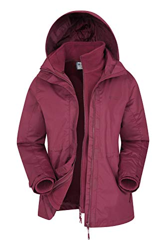 Mountain Warehouse Fell Womens 3 in 1 Jacket -Water Resistant Rain Jacket, Adjustable Hood Ladies Winter Triclimate…