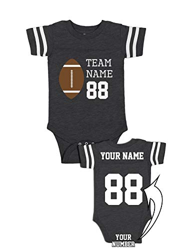 Custom Cotton Baby One-Piece Suits - Football Add Your Name Number Team Apparel Jerseys & Outfits for Babies