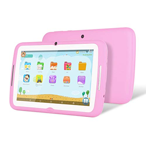 Kids Tablet Android, 7 Inch Tablet PC for Kids, Andriod 7.1 with 1GB RAM 8GB ROM and WiFi Per-Installed iWawa APP Display IPS Screen(Pink)