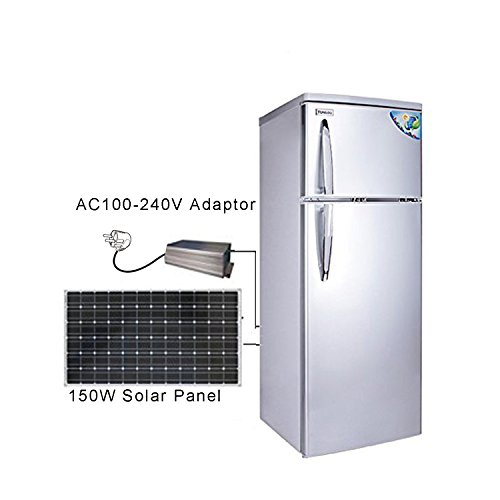 DC12V 68W Solar Refrigerator Freezer 7.4 Cubic. ft, Cowin Solar Powered Fridge, 150 W Solar Pannel, Double Doors, Low Voltage