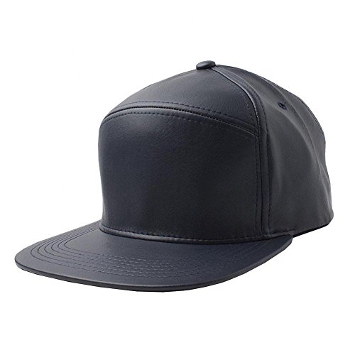 Navy-NEW Plain Flat Bill Faux Leather Snapback Panel Hat Baseball Cap Hip Hop Adjustable (US Seller)