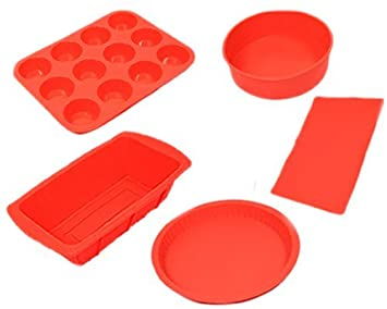 Silicone Bakeware Set 5pcs - Red + Get FREE Heart Trolly Coin Keyring (Round Pie