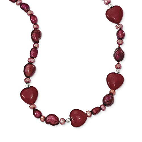 925 Sterling Silver Red Jade Hearts/Freshwater Cultured Pearl Chain Necklace Pendant Charm Fine Jewelry Gifts For Women For -