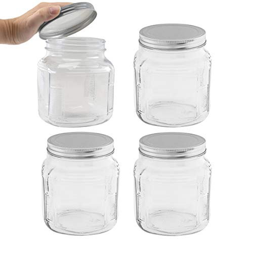 Anchor Hocking (4 Pack) 32oz Glass Food Storage Containers with Lids Jar Kitchen Storage Bathroom Garage